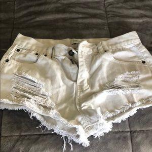 White distressed denim shorts size 27